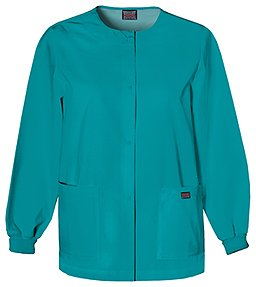 Cherokee Workwear scrub Warm Up Jacket for Women, Teal Blue, X-Large
