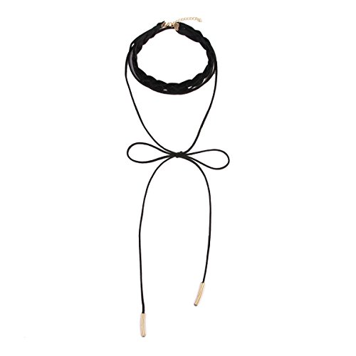 MYS Collection Faux Suede Choker Necklace - Bow