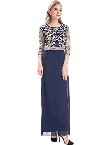 MANER Women Chiffon Beaded Sequin 3/4 Sleeve Long Gowns Prom Evening Bridesmaid Dress (XL, Blue/Apricot)