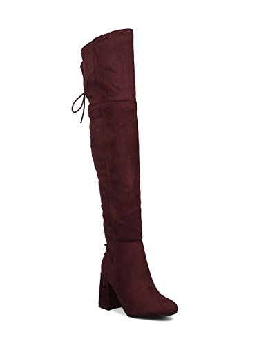 Indulge Bella-I Women Faux Suede Over The Knee Hind Lace Up Block Heel Boot HE65