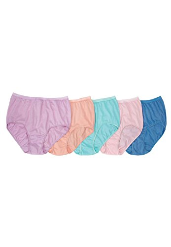 Comfort Choice Women's Plus Size Cotton 5-Pack Full Cut Brief Spring Pack,9