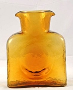 Authentic Blenko Glass Water Bottle (Carafe) 8 inch 36 oz- Topaz Yellow amber (Amber Glass Decanter)