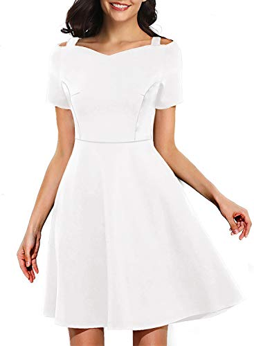 Women Solid Plain Color Fit and Flare Sexy Cute Beautiful Formal Evening A-Line Mini Dress with Sweetheart Neck for Casual Party Clothes 968 (L, White)
