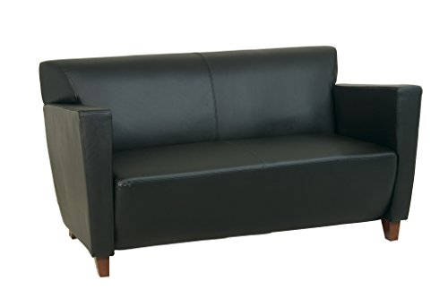 Office Star Modern Leather Loveseat with Cherry Finish Legs, Black