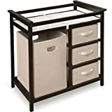 Modern Changing Table with 3 Baskets and Hamper - Color: Espresso