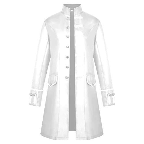 iCos Unisex Medieval Steampunk Coat Men Stand Collar Jacket Formal Halloween Costume Uniform (Medium, White)]()