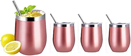 Haudang Juego de 4 copas de vino de acero inoxidable de 12 onzas, con 4 pajitas, termo aislado con tapa para café