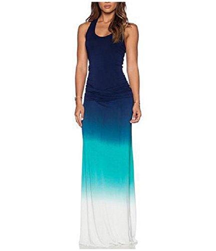 Coolred-femmes Sans Manches Hombre Maxi Réservoir Sans Dossier Tissu Extensible Robe Bleu Clair