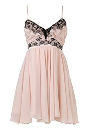 a818c1b9e0d12 Lipsy Strappy Ruffle Frill Babydoll Dress With Black Lace in Pale Pink  (12): Amazon.co.uk: Clothing