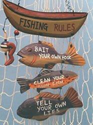 Wood Fishing Rules Sign U2013 Fish Boat Nautical Decor