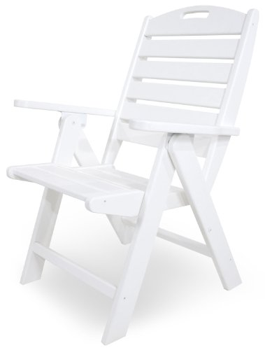 (POLYWOOD NCH38WH Nautical Highback Chair, White )