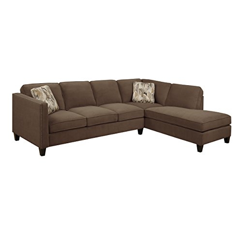 Emerald Home Focus Chocolate Sectional, with Pillows, Easy Clean Microfiber Upholstery, Nailhead Trim, And Straight Arms (With Nailhead Sofas Microfiber Trim)