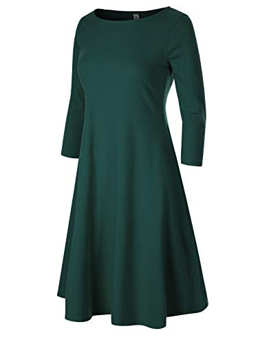 Design by Olivia Women's Classic 3/4 Sleeve Round Hem Swing Flared Tunic Dress with Side Pockets Hunter Green M (5 Design Pocket)