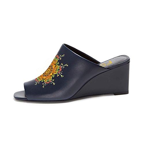 Fsj Mujeres Sexy Peep Toe Sandalias De Cuña Estilo Mula Resbalón En Los Zapatos Para El Tamaño Casual 4-15 Us Navy-yellow Flower