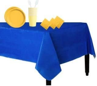 B01GK3W0LC Customized Party Supplies - Serve Up To 60 Guests! Round Plates, Napkins Cups, Forks + Table Covers! Great for Anniversary, Birthday, Baby Shower, Graduation & Retirement Parties! (Blue & Gold) 31Yb4gzsL8L
