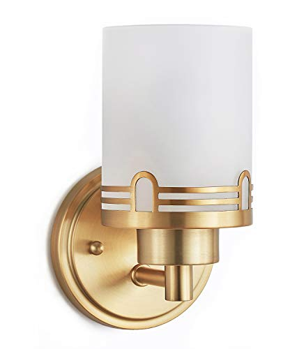 Doraimi 1 Light Frosted Glass Shade Plug in Wall Sconce Lighting with Dyed Antique Brass Finish,Modern Wall Light Fixture with Hollow Lamp Cup for Bath Room, LED Bulb(not Include)