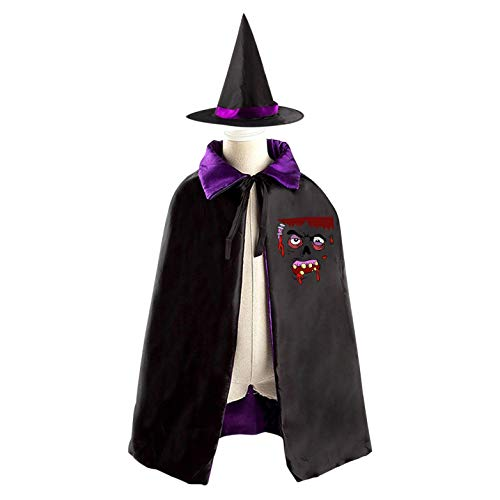 69PF-1 Halloween Cape Matching Witch Hat Terrible Face Wizard Cloak Masquerade Cosplay Custume Robe Kids/Boy/Girl Gift -