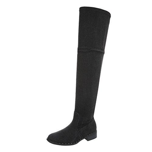 17005 Blockabsatz Design Reißverschluss Ital Overknees Schwarz Damenschuhe Stiefel 9 xSRnwP0qT