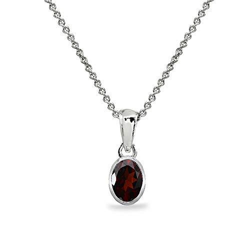 Sterling Silver Garnet 8x6mm Oval Bezel-Set Dainty Pendant Necklace for Women, Teen Girls
