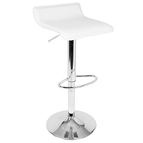 OKSLO Ale contemporary adjustable barstool in white faux leather by - set of 2