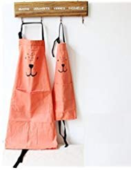 Cotton and Linen Parent Child Apron, Simple and Lovely Apron with Pocket for Painting and Cooking, Artist Apron & Chef Apron, Pack of 2 - Orange Bbq Apron