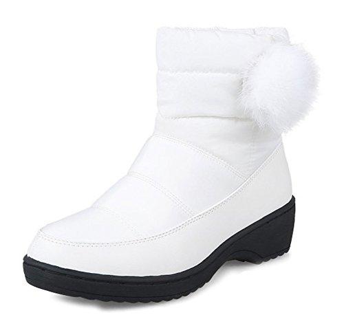 Aisun Bottines Blanc Femme Moyen Classique Talon Bloc Slip On qAw6vqnZ