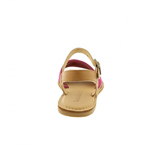 Sheafe Y-Strap Sandal A14IW - Vivacious Pink Suede With Tan Backstrap