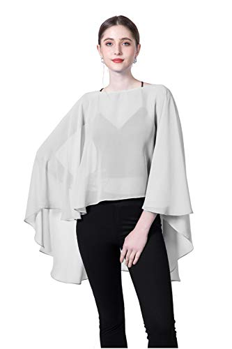 - Chiffon Capes Sheer Capelets Bridal Shawls And Wraps Cape Long Plus Size Poncho Cape For Women (Gray)