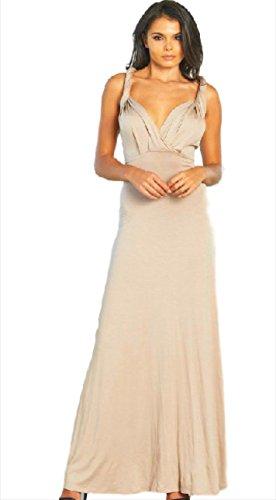 (Women Sleeveless Twisted Strap MaxI Dress (Small))