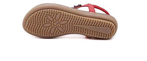 SHUNLIU Damen Sandalen Flach Schuhe mit Strass Flip Flops Römer Damen Sommersandalen T-Strap Gelb