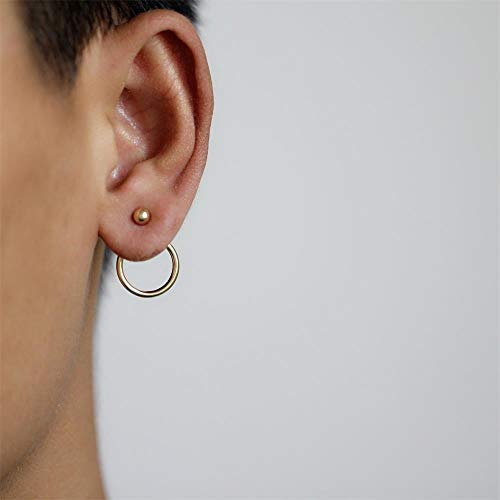 Phonphisai shop 1Pair Minimalist Punk Jewelry Earrings Circle Round Hoop Ear Stud Color Gold ()