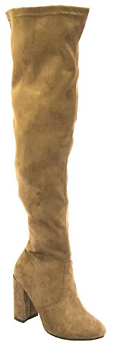 Stacked Thigh Knee Chunky Womens BETANI Heel Block Taupe Boot Over High The Txq4Iwa0A