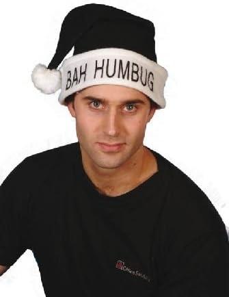 Black BAH HUMBUG Holiday Hat Black Santa Hat with White Trim