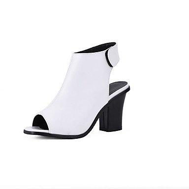 LvYuan Mujer-Tacón Robusto-Confort Tira en el Tobillo-Sandalias-Boda Oficina y Trabajo Fiesta y Noche-PU-Negro Blanco Gris White