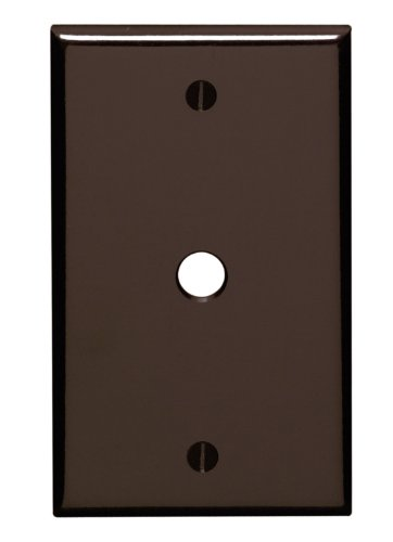 Leviton 85013 1-Gang .406 Inch Hole Device Telephone/Cable Wallplate, Standard Size, Thermoset, Box Mount, Brown - Phone Outlet Switchplate