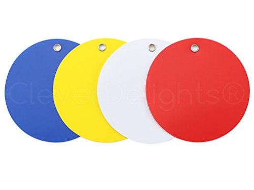 """UPC 693892353813, 100 Pack - CleverDelights Plastic Tags - 3"""" Round - Tear-Proof and Waterproof - Inventory Asset Identification Price Tags - 25 Pcs Per Color"""