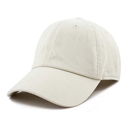 - The Hat Depot Plain Brushed Soft 100% Cotton Unstructured Low Profile Dad Hat (Stone)