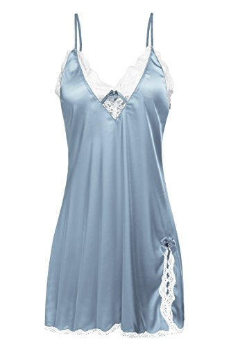Ekouaer Women's Satin Lace Trim Slip Chemise Night Gown,Blue,Lagre