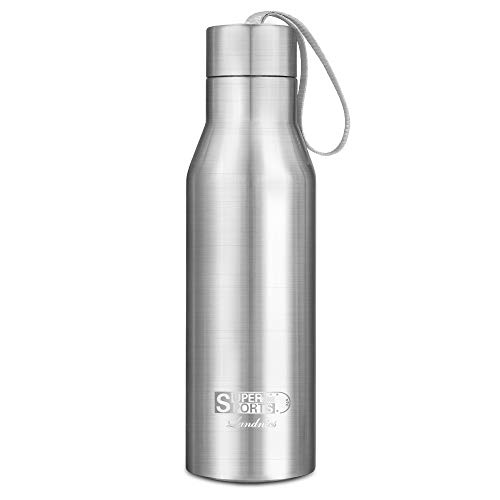 720ML Botellas Agua de Acero Inoxidable, Deportiva Botella Termica Libre de BPA 24 Horas Frio y 12 Horas Caliente, Termo Aislada para Camping Senderismo Ciclismo, Plata