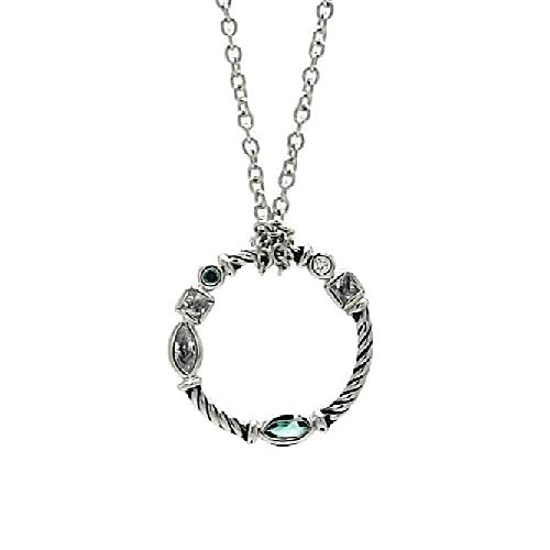 - Sterling Silver Necklace w/CZ Stones Braided Design Open Circle Pendant