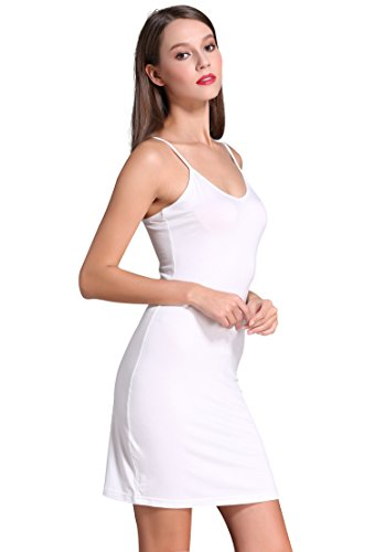 Women Long Spaghetti Strap Full Cami Slip Camisole Under Dress Liner, White, XS