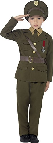 Smiffy's Children's Army Officer Costume, Jacket, Belt, Trousers, Hat, Mock Shirt & Tie, Boys, Ages 10-12, Size: Large, Color: Green, 27536