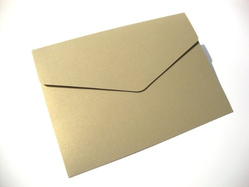 Cranberry Card Company A5 Pearlescent Pocketfold Blank Wedding Invites/Wedding Wallets/A5 Card - With Plain Cream 100Gsm Envelopes (50, Gold Leaf) by Cranberry Card Company