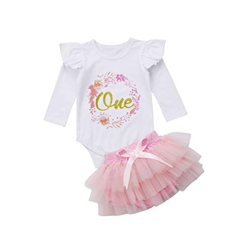 Baby Girl Clothing Set 1st Birthday Outfits Cotton Long Sleeve Top Lace Tutu Shorts Floral Clothes (6-12 Months, White) ()