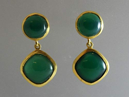 Onyx Earrings Green (Green Onyx Gemstone Cabochon Double Drop Gold Plated Sterling Silver Post Earrings)