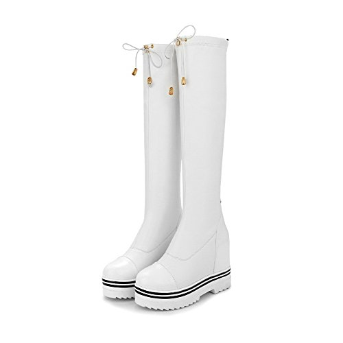 Women's up Closed Allhqfashion Boots Heels Color High White Toe Assorted Round PU Lace 1qfWdH