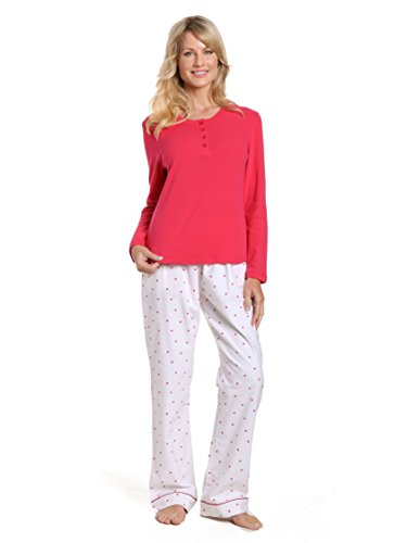 Lounge Set Heart (Noble Mount Women's Cotton Flannel Lounge Set - Little Hearts - White-Red - X-Large)