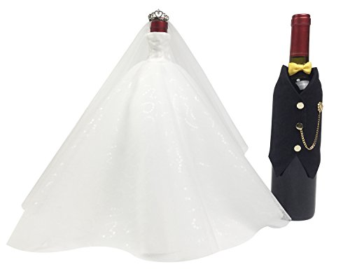 Wedding Gifts For the Couple,Bridal Shower Gifts, Bride and Groom Wine Bottle Covers,Wedding Centerpieces Decorations(whitexblack(tuxedo)) (Wine Bottle Decoration Ideas)