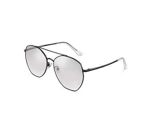 HongTeng Sunglasses Female Metal Large Frame Light Nylon Lens Travel Essential Trend Anti-UV Glasses (Color : Black Frame Reflective Film Mercury)