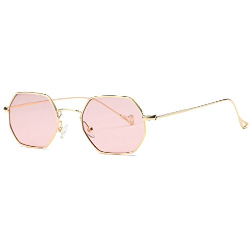 AEVOGUE Unisex Sunglasses Small Metal Frame Asymmetry Temple AE0520 (Gold&Pink, 56) - Small Metal Sunglasses